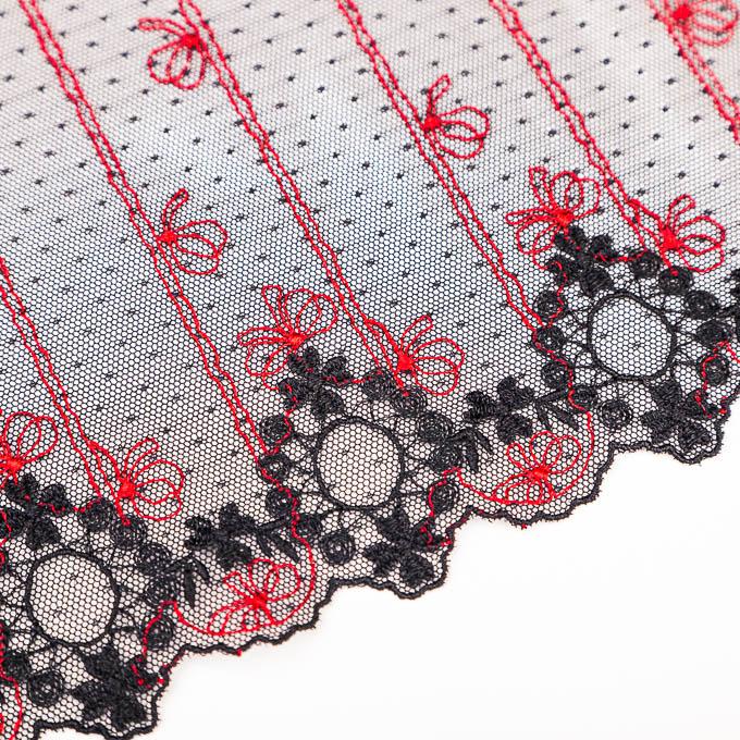 elastischer Tüll bestickt in schwarz und rot