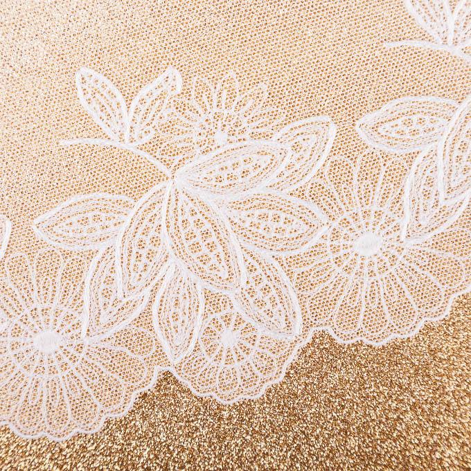 elastische Stickerei auf weißem Tüll