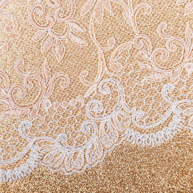 unelastische Stickerei weiß silber Lurex beige