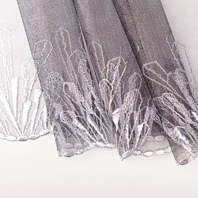 unelastische Stickerei silber Glanz beschichtet