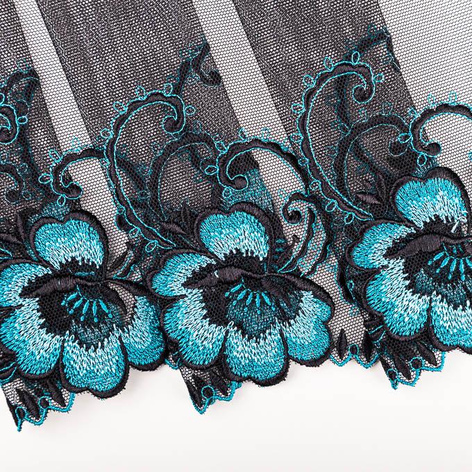 unelastische Stickerein auf schwarzem Tüll Stick in türkis und schwarz
