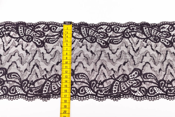 elastische Spitze in schwarz zebra