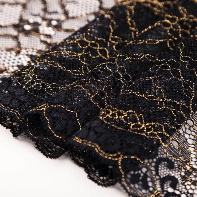 elastische Spitze schwarz gold