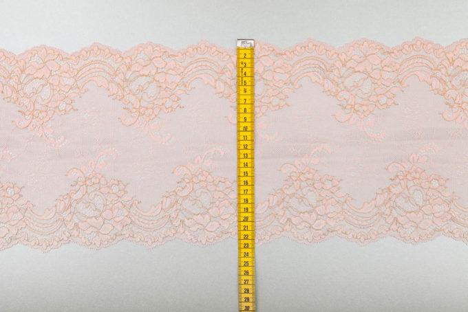 elastische Spitze pfirsich rosa mit gold